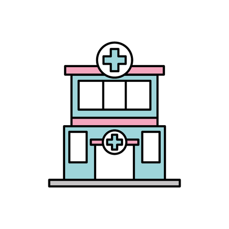 hospital building medical center front view icon vector illustration