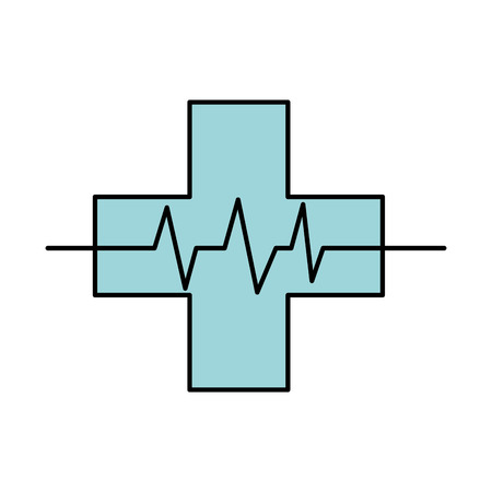 medical cross with heart beat healthy vector illustration Vectores