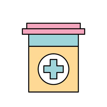 플라스틱 컨테이너 의학 크로스 제약 치료 벡터 일러스트 레이션