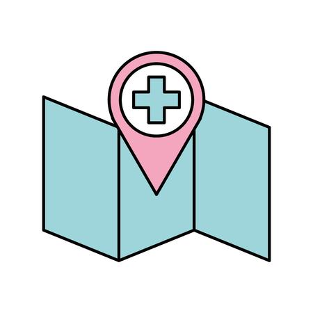 Ponteiro de farmácia do hospital na ilustração em vetor mapa localização ícone Foto de archivo - 90277757