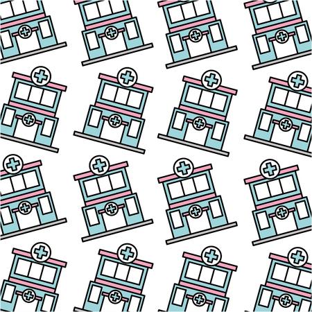병원 클리닉 건물 원활한 패턴 이미지 벡터 일러스트 레이션