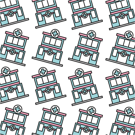 hospital clinic building care seamless pattern image vector illustration Ilustração