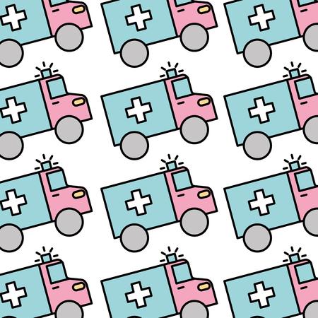 의료 구급차 차량 원활한 패턴 이미지 벡터 일러스트 레이션