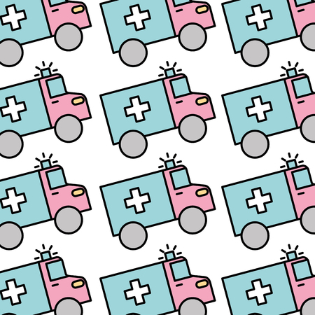 medical ambulance vehicle seamless pattern image vector illustration