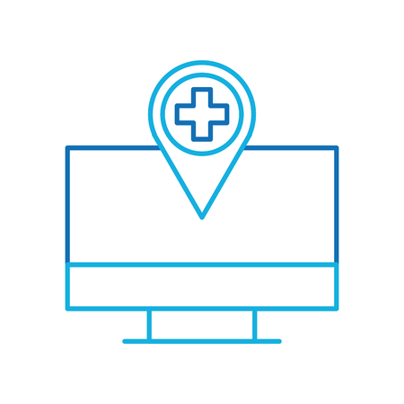 computer monitor with hospital pointer map navigation vector illustration Ilustração