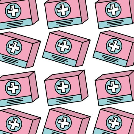 段ボール箱医学のシームレスなパターン画像ベクトル図  イラスト・ベクター素材