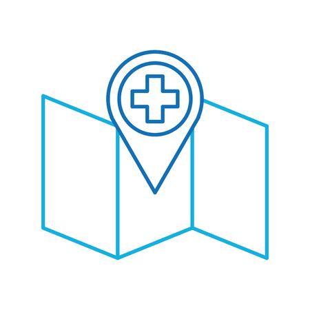 hospital pharmacy pointer on map location icon vector illustration