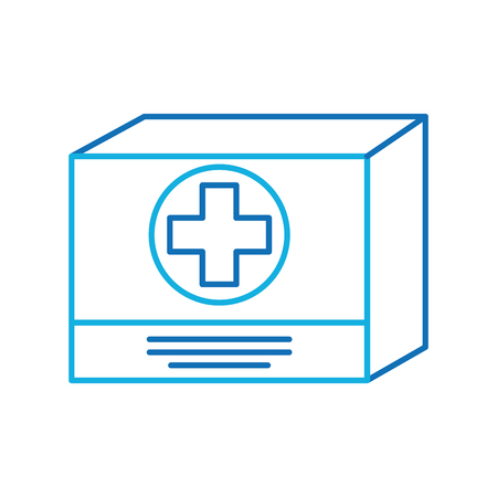 cardboard box medicine equipment supply icon vector illustration