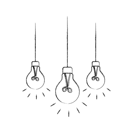 light bulbs hanging from the ceiling vector illustration