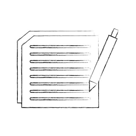 텍스트 및 펜 문서 용지 계약 벡터 일러스트 레이션을 작성 스톡 콘텐츠 - 90278175