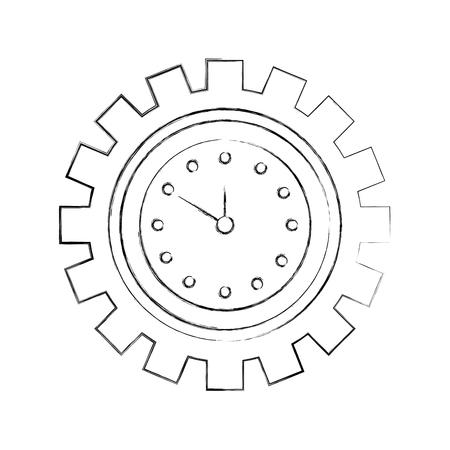 ギア ビジネス時間作業概念ベクトル図の内部クロックします。