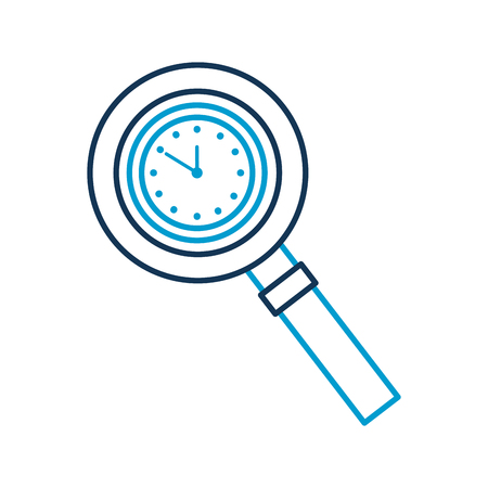 magnifying glass with clock handle equipment vector illustration Illustration