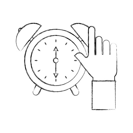 business hand clock alarm device icon vector illustration Ilustrace
