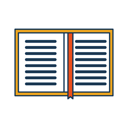 overhead view of a book personal organiser planner bookmark vector illustration Иллюстрация