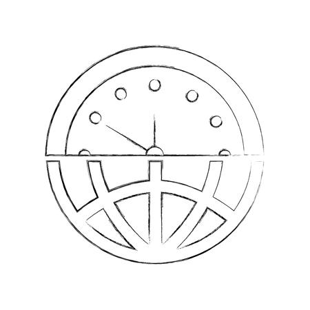 halve wereldbol plus halve klok wat tijd management vectorillustratie betekent Stock Illustratie