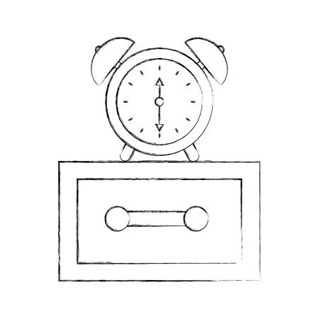 alarm clock on bedside table alert morning vector illustration