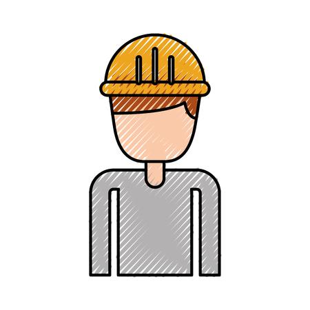 建設労働者の肖像画キャラ マネージャー ベクトル イラスト