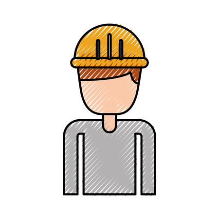 construction worker portrait character manager vector illustration Ilustração