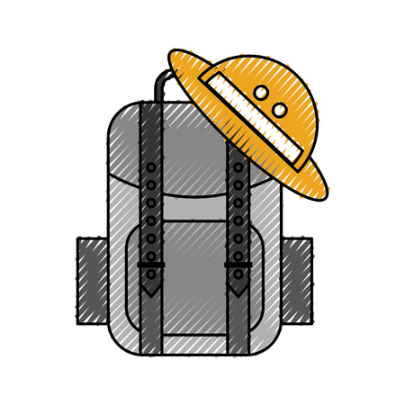 travel backpack and hat equipment vector illustration Illustration