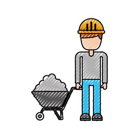 手押し車セメント ベクトル図と建設労働者
