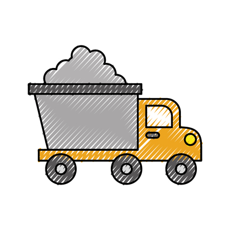 tipper truck construction with cement material vector illustration Ilustracja