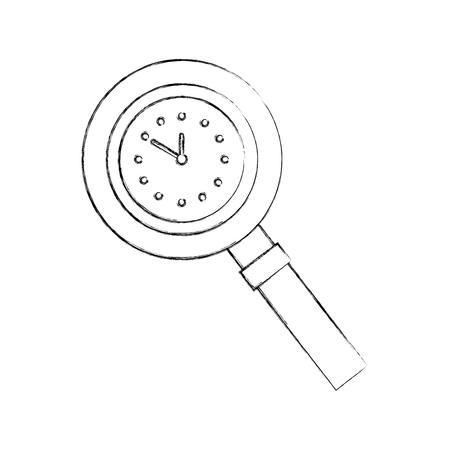 시계 핸들 장비 벡터 일러스트와 돋보기
