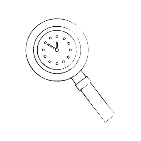 magnifying glass with clock handle equipment vector illustration Illusztráció