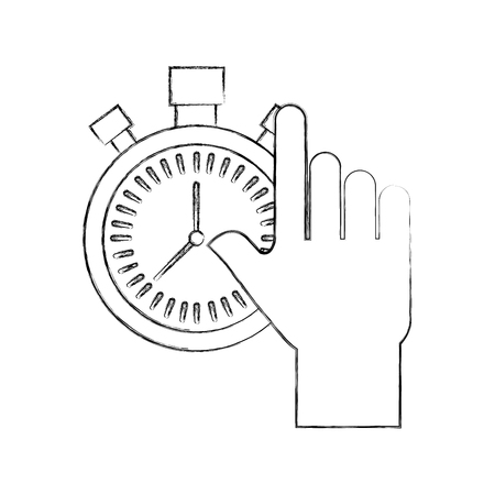 hand holding chronometer control countdown image vector illustration Vektorové ilustrace