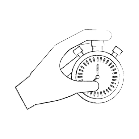 hand holding finger on stopwatch with seconds arrow vector illustration 向量圖像