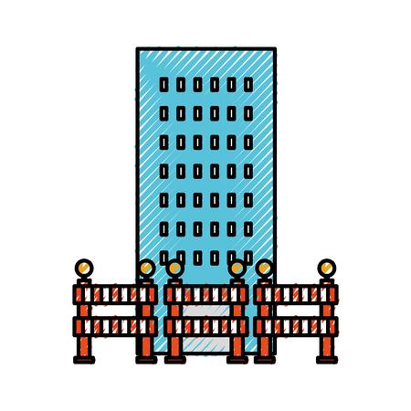 バリケード構築ベクトル図と建築