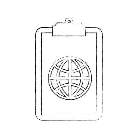 clipboard with global connection network image vector illustration