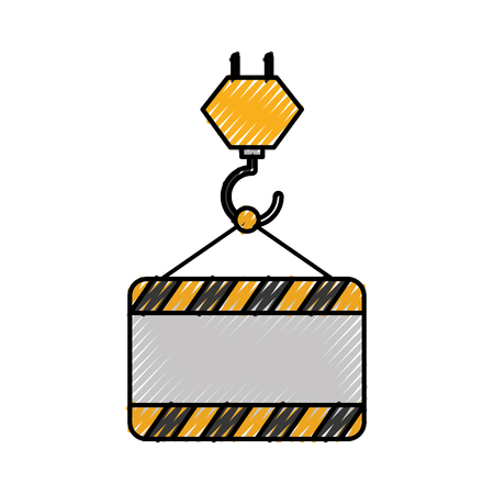 construction crane lifting board empty vector illustration