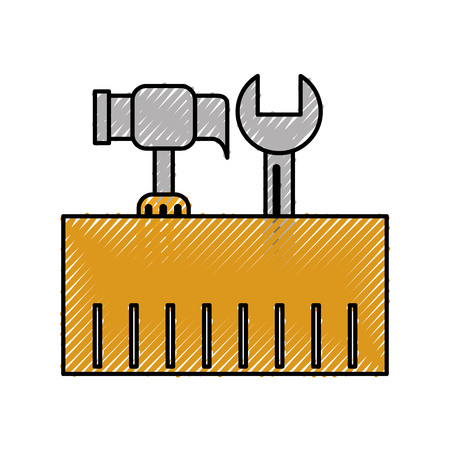 construction box with hammer and wrench tools vector illustration