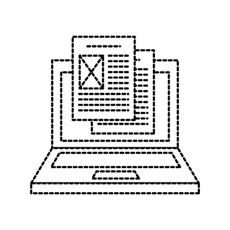 laptop file document digital online technology vector illustration