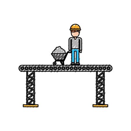 일륜차 벡터 일러스트와 함께 건설 노동자 서 플랫폼