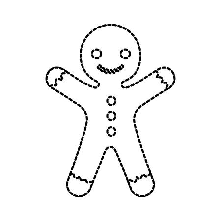 gingerman zelfgemaakte kerst peperkoek cookie stijl vector illustratie
