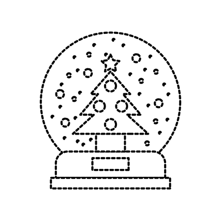 christmas snow globe with a fir tree inside in flat style vector illustration