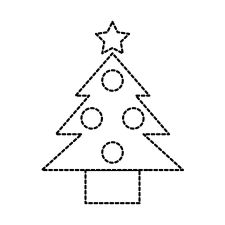 christmas tree pine ball star decoration vector illustration