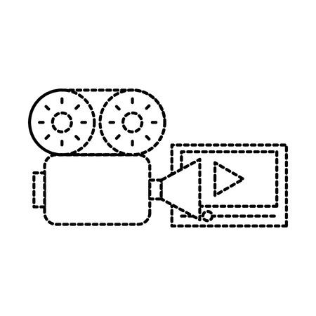 film camera movie table online vector illustration