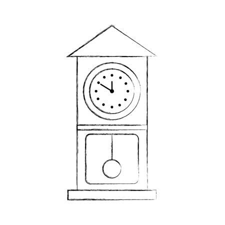 vintage clock pendulum decoration office element vector illustration Stock Vector - 90278415
