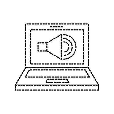 laptop audio speaker technology online vector illustration