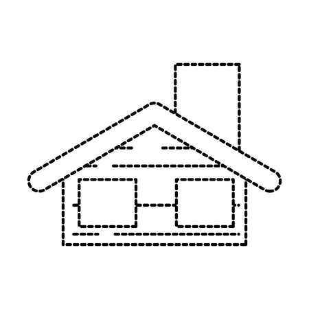 christmas house with chimney window decoration vector illustration Illustration