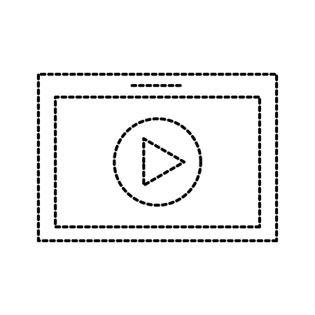 table technology movie play button online vector illustration