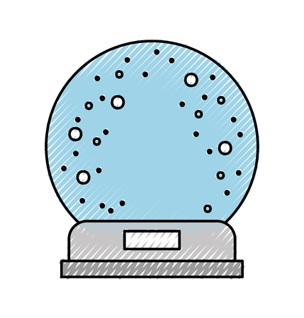 snowglobe glass falling snow decorative vector illustration