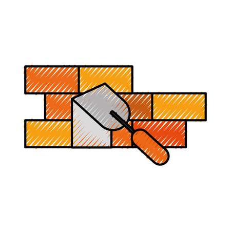 建設壁レンガ ヘラ作業機器のベクトル図  イラスト・ベクター素材