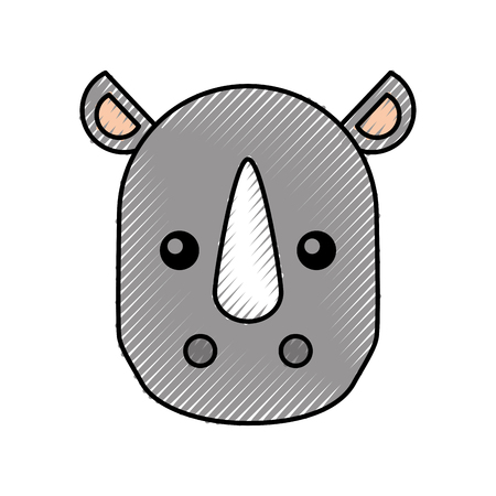 cute cartoon rhino baby animal wild vector illustration