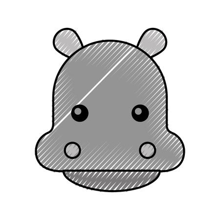 cute hippo cartoon animal wildlife baby vector illustration