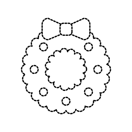 christmas wreath with ball bow decoration celebration vector illustration 向量圖像