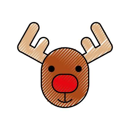 christmas reindeer horned animal decoration vector illustration