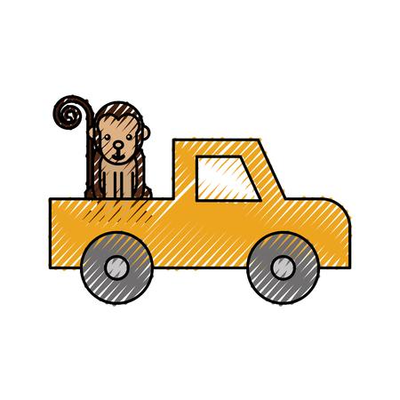 漫画をピックアップ車サファリ猿動物のベクトル図